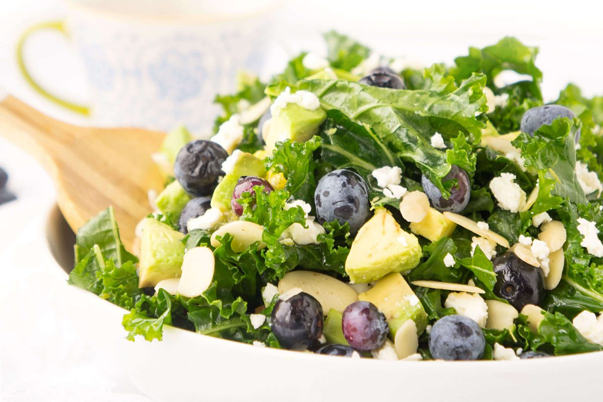 Blueberry & Avocado Kale Salad