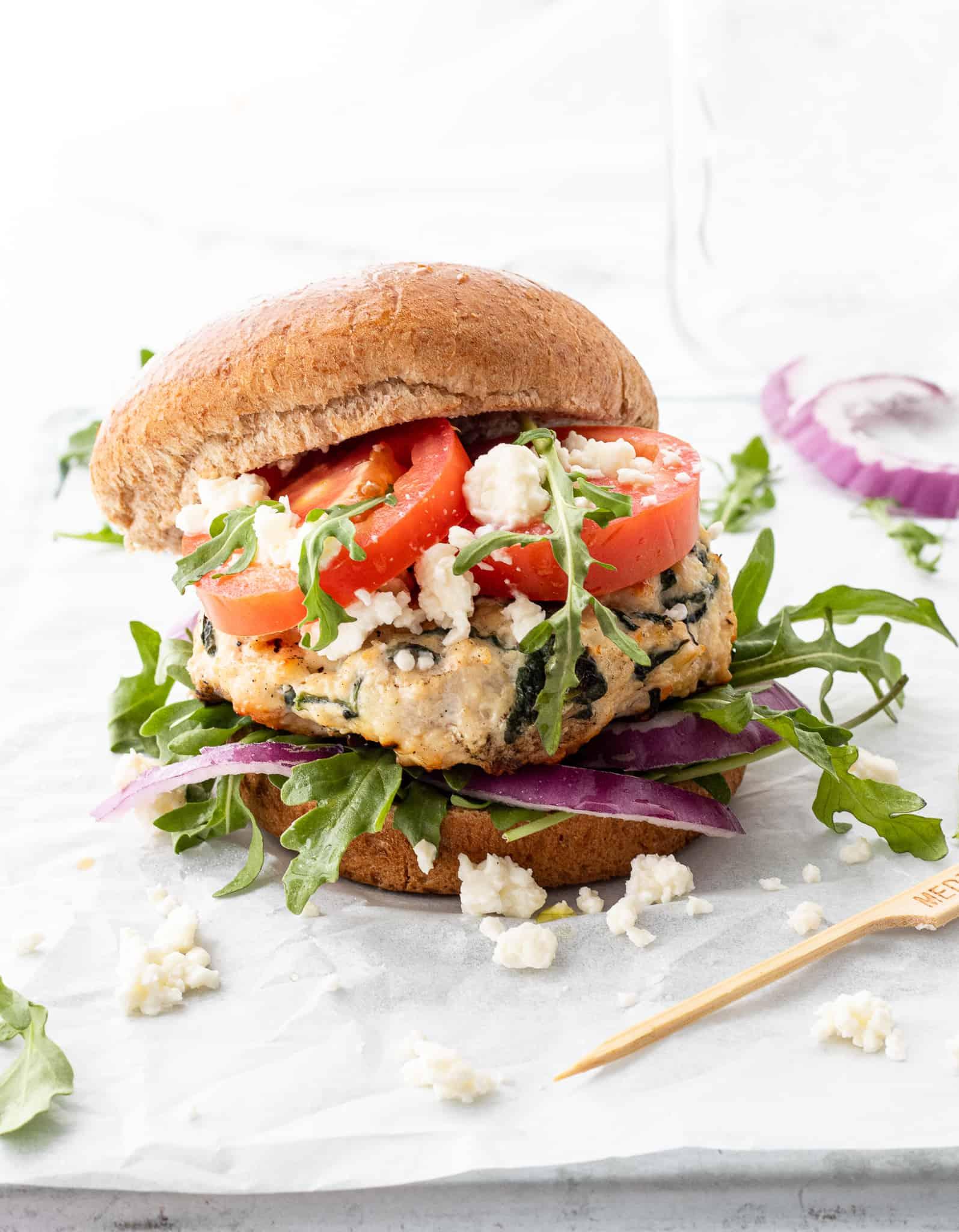 Chicken Feta Burgers Haute Healthy Living