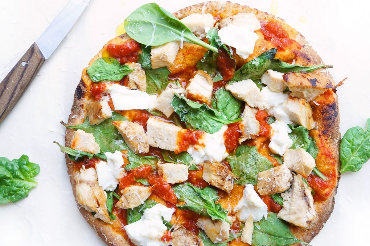 Slimmed Down Chicken & Spinach Pizza