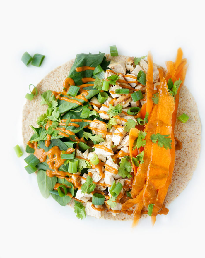 Spicy Chicken Peanut Wraps