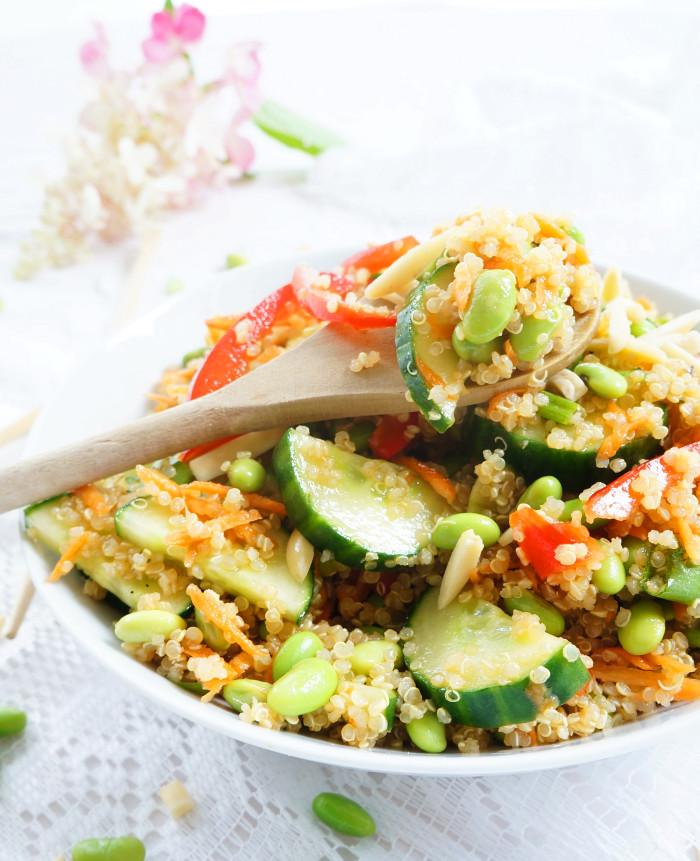 Asian Quinoa & Edamame Salad | Haute & Healthy Living