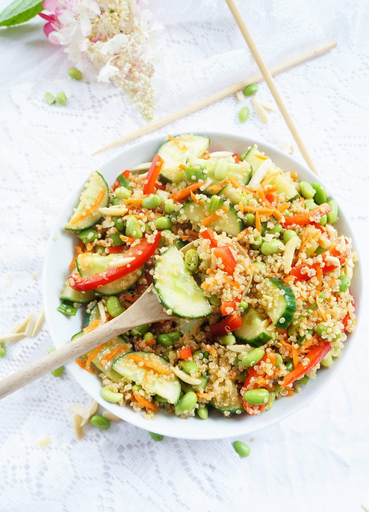 Haute  Healthy Living Asian Quinoa  Edamame Salad Haute