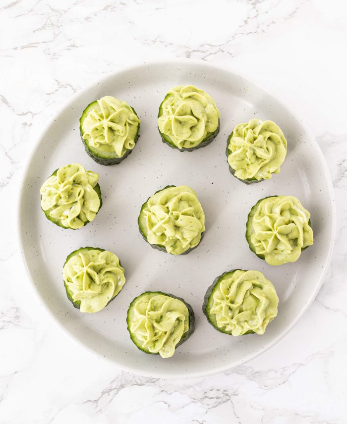 cucumber slices with avocado goat cheese mixture