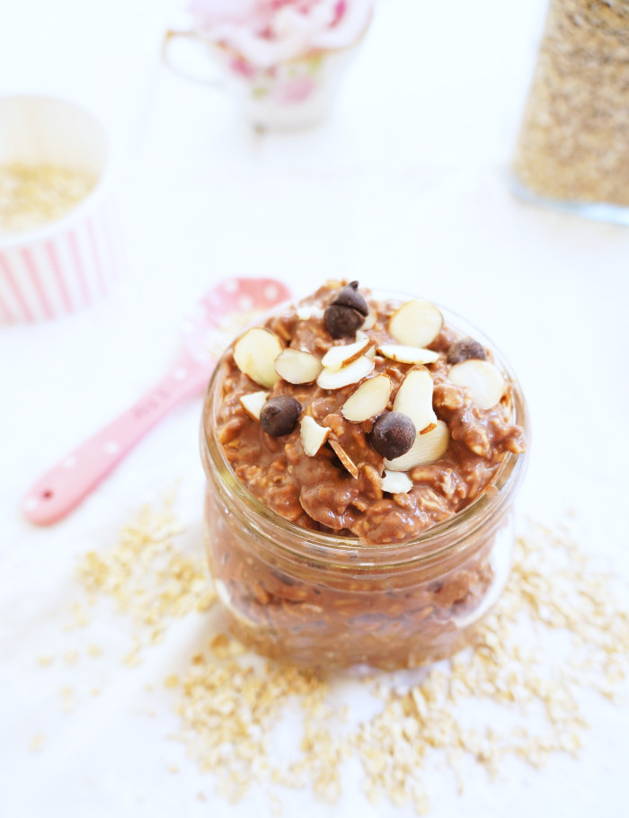 Chocolate Peanut Butter Overnight Oats | Haute & Healthy Living