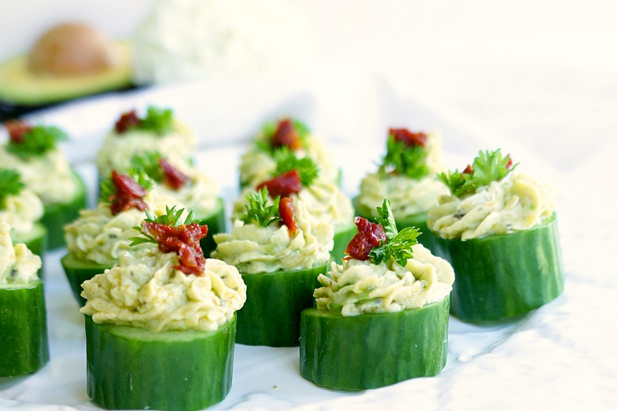 Avocado & Goat Cheese Cucumber Cupcakes