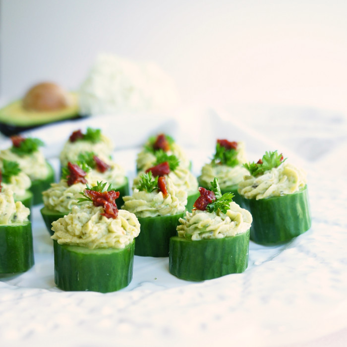 Avocado & Goat Cheese Cucumber Cupcakes | Haute & Healthy Living