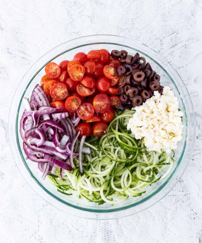 ingredients for Greek salad in a bowl