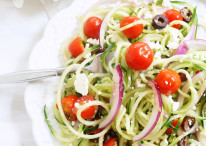 Spiralized Cucumber Greek Salad