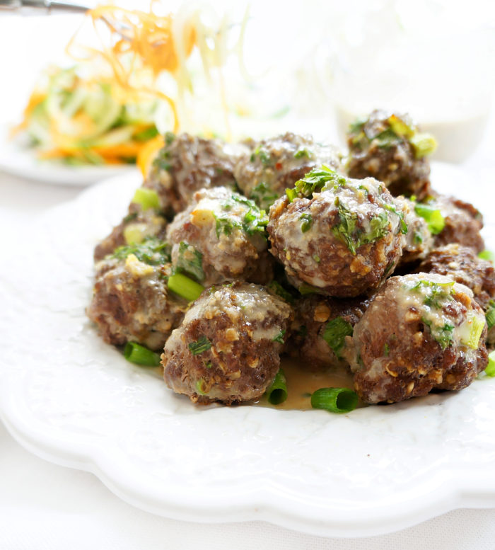Asian Beef Meatballs with Thai Coconut Sauce