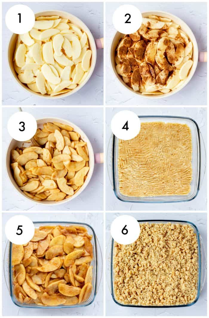 step by step photos for making no bake apple crumble with numbers