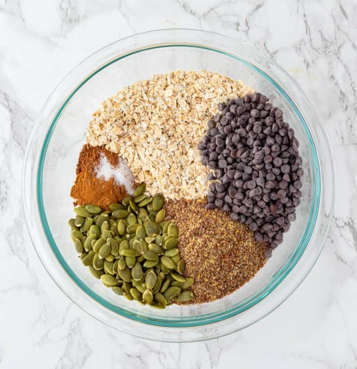 The dry ingredients in a glass bowl