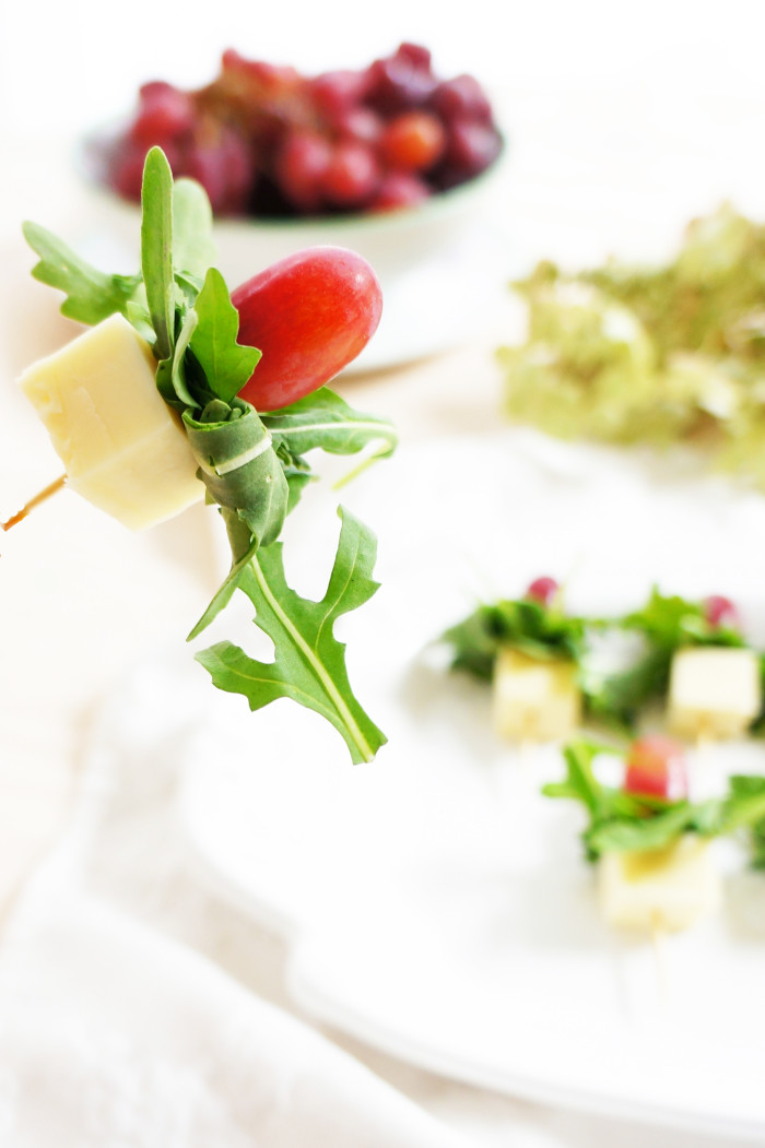 Grape, Gouda & Arugula Skewers | Haute & Healthy Living