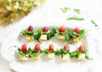 Grape, Gouda & Arugula Skewers