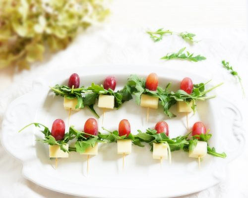 Grape,Gouda & Arugula Skewers