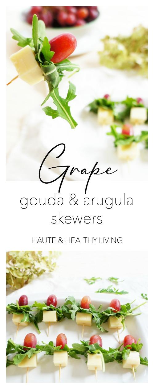 Grape,Gouda & Arugula Skewers