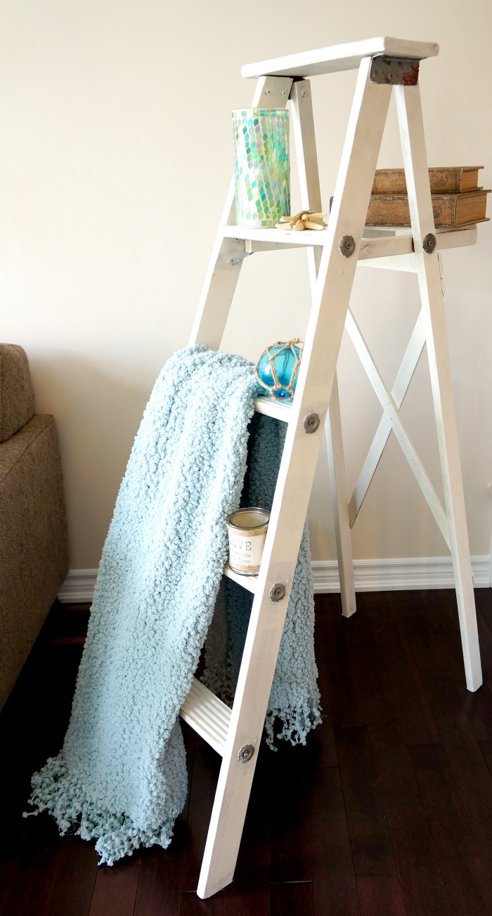 DIY Distressed Ladder Shelf | Haute & Healthy Living