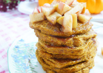 Pumpkin Spice Pancakes with Maple Apple Topping