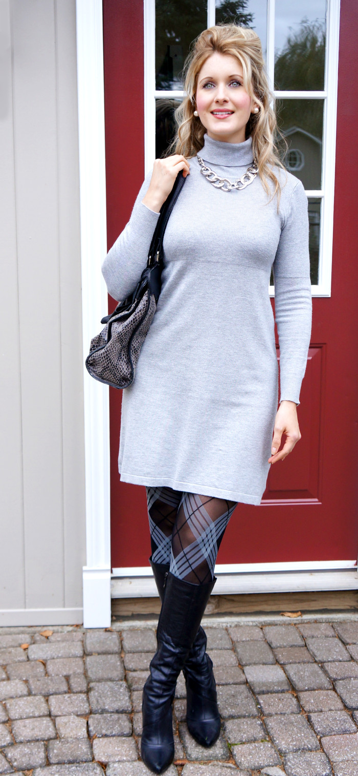 Turtleneck Dress with Plaid Tights | Haute & Healthy Living
