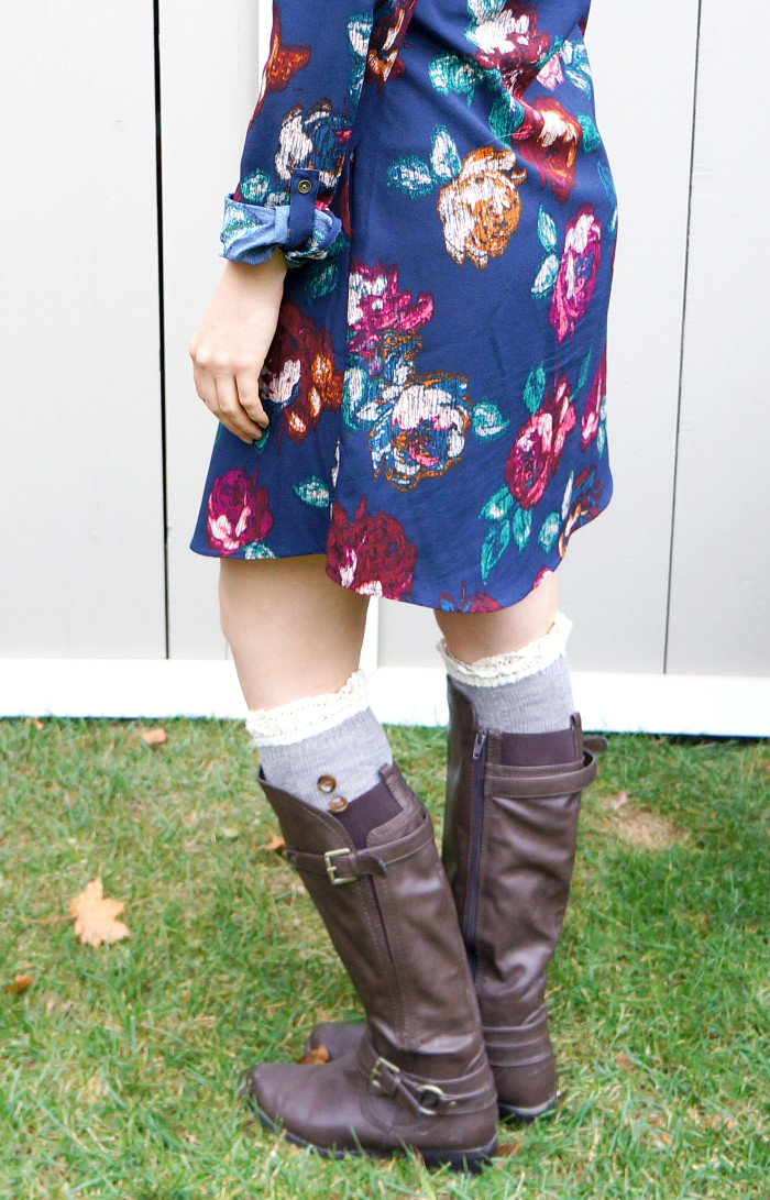 Fall Dress with Boot Socks | Haute & Healthy Living