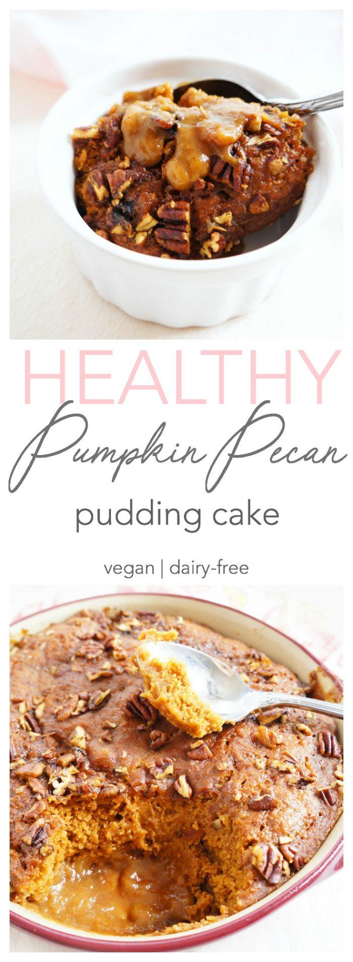 Vegan & Dairy-free Pumpkin Pecan Pudding Cake