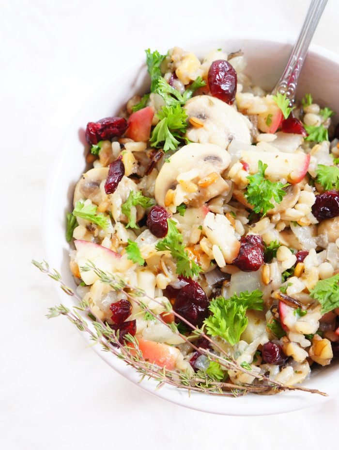 Cranberry Apple Walnut Wild Rice Stuffing | Haute & Healthy Living