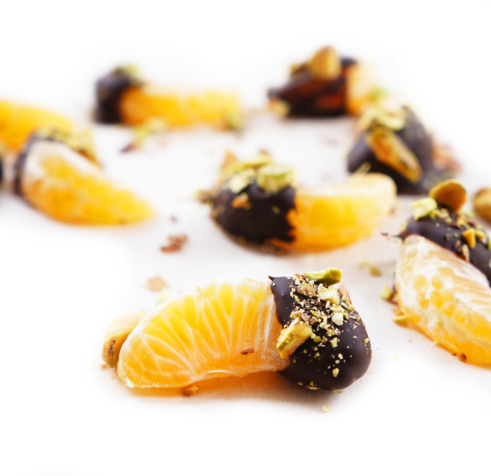 Chocolate Dipped Clementines with Chopped Pistachios