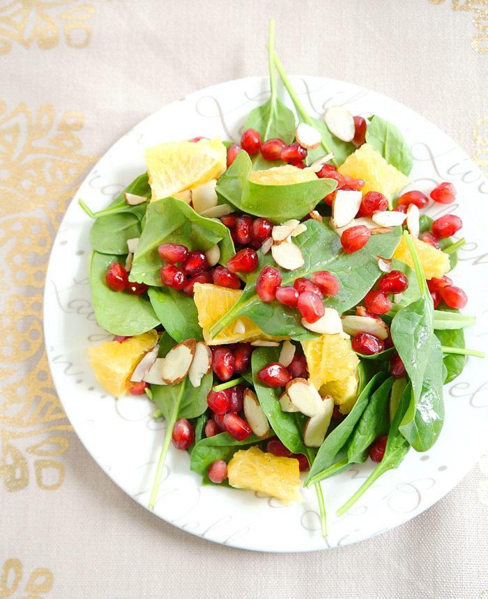 Spinach, Orange & Pomegranate Salad