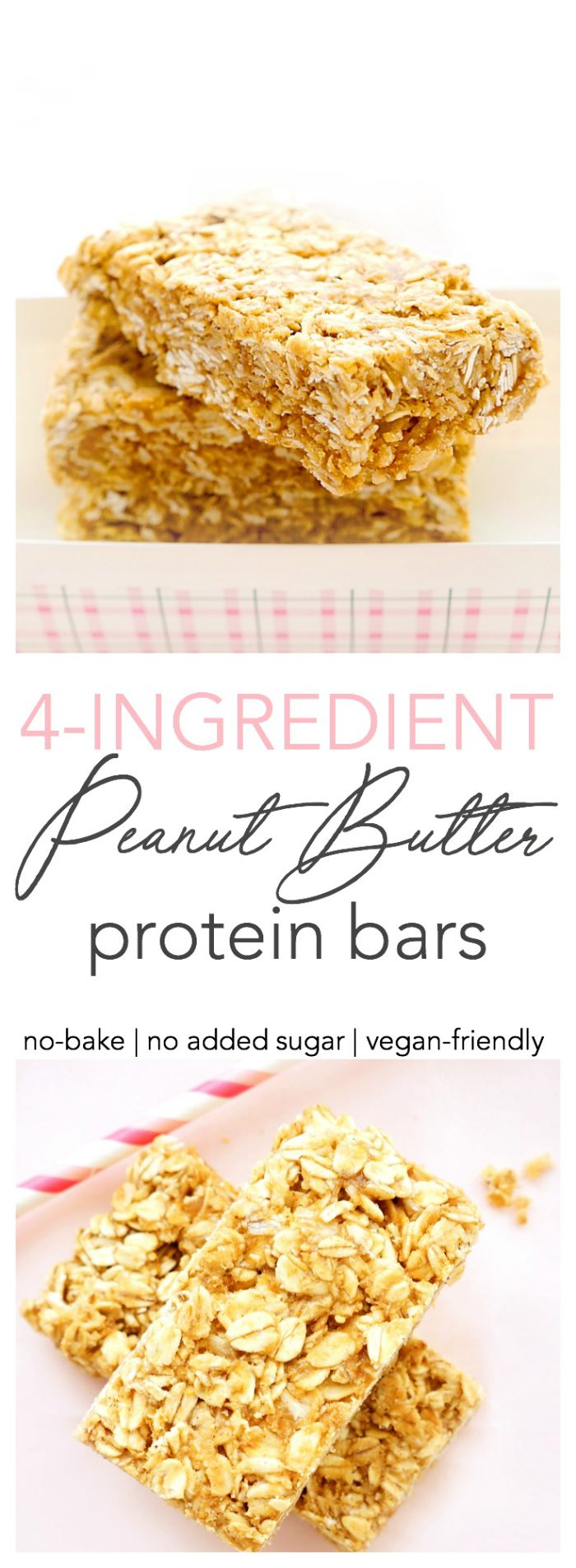 4-Ingredient No-Bake Peanut Butter Protein Bars