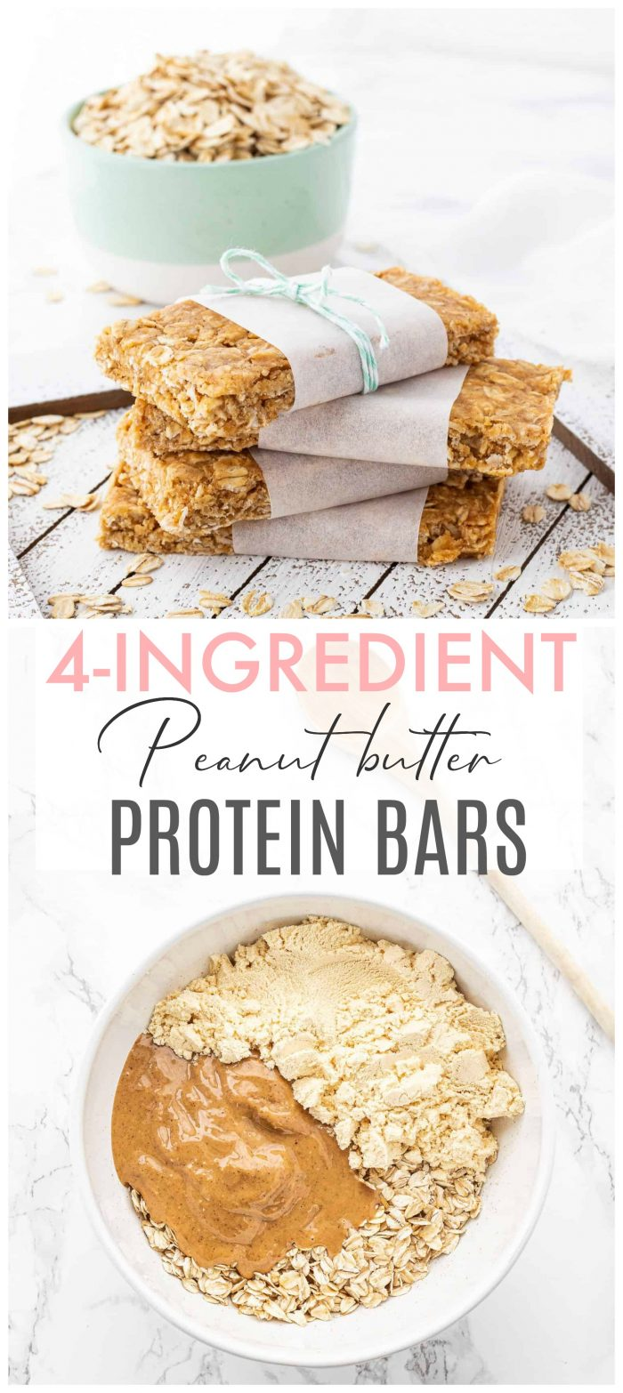 These healthy no-bake peanut butter protein bars contain only four ingredients and are super easy to prepare! They make the perfect snack for on-the-go. So ditch those store-bought granola bars and make your own!