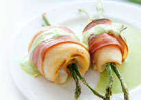 Chicken Asparagus Rolls with Green Pea Puree
