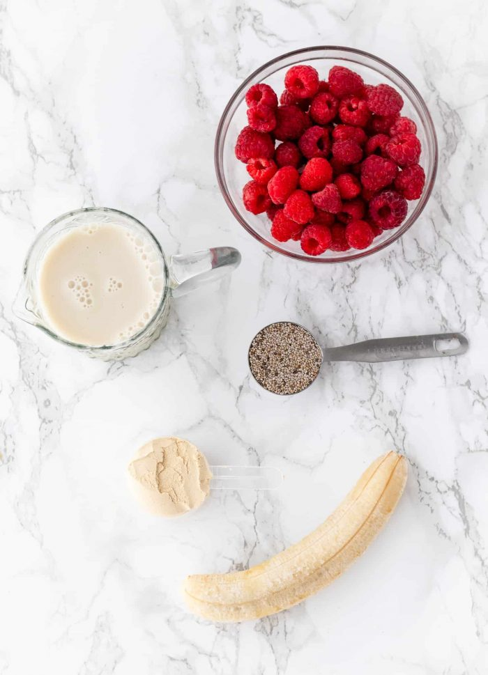 ingredients for raspberry protein shake