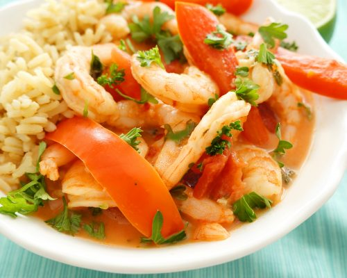 Shrimp with Creamy Coconut Tomato Sauce