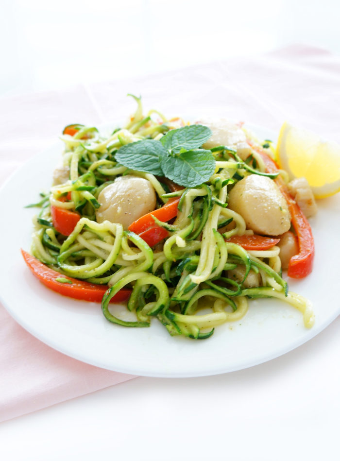 Scallops with Zucchini Noodles & Pistachio Mint Pesto