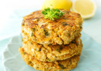 Lemon Falafel Burgers with Greek Yogurt Tahini Spread