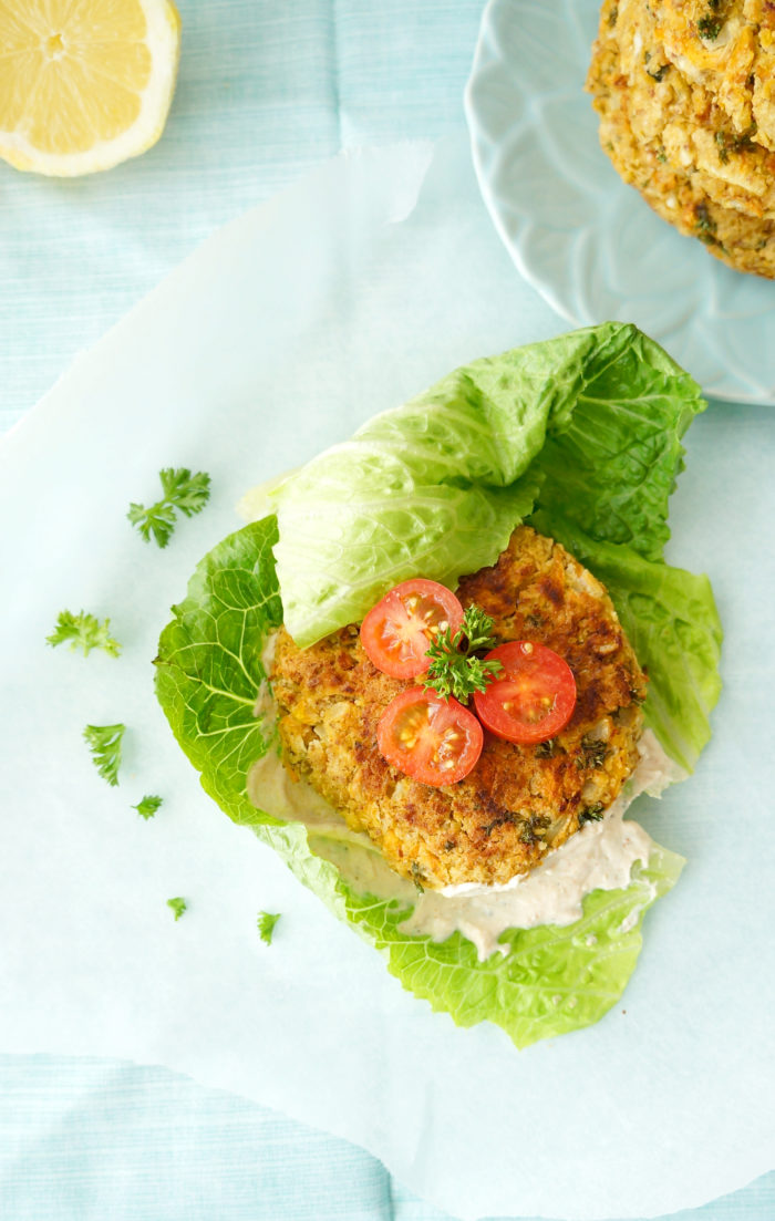 Falafel Burgers with Greek Yogurt Tahini Spread