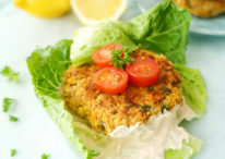 Lemony Falafel Burgers with Greek Yogurt Tahini Spread
