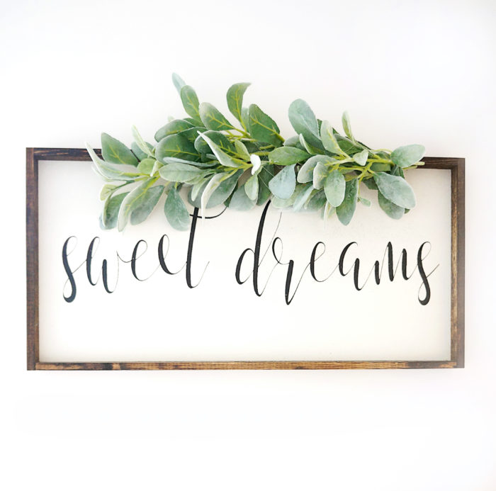 A sweet dreams sign for neutral baby nursery wall art