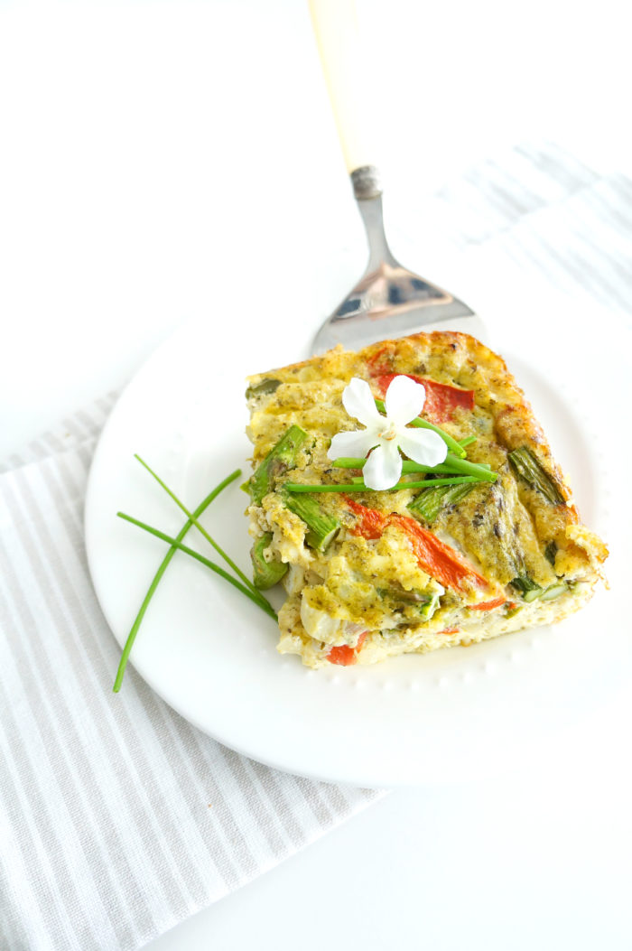 Pesto Asparagus Crustless Quiche