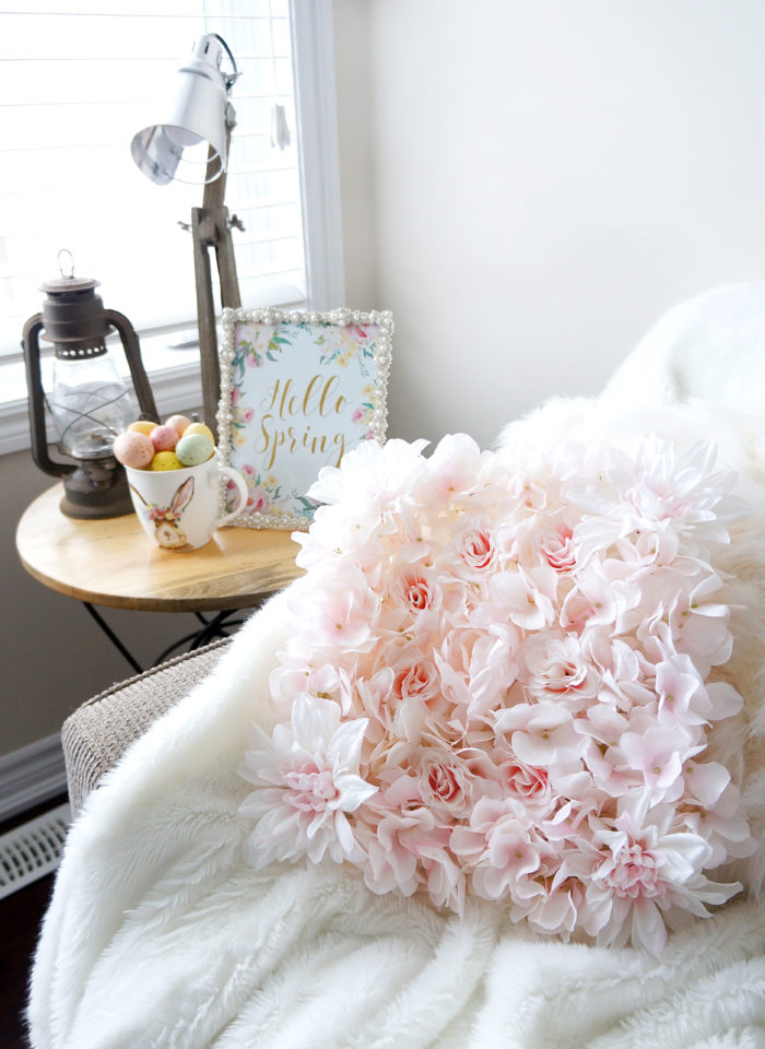 Blush flower pillow and Spring printable with pastel Easter eggs for Spring decoration
