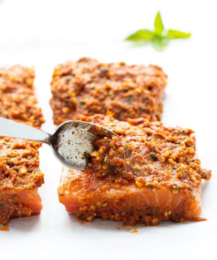 Sun-Dried Tomato Pesto Salmon