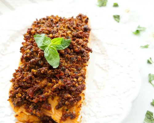 Sun-dried Tomato Pesto Salmon