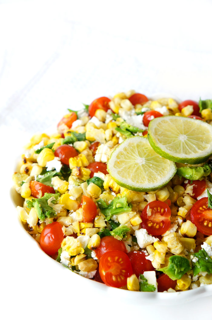 Grilled Corn, Tomato & Avocado Salad with a Honey Lime Dressing