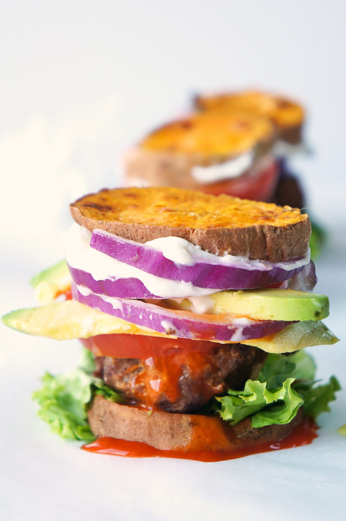 "Buffalo Sliders with Sweet Potato ""Bun"""