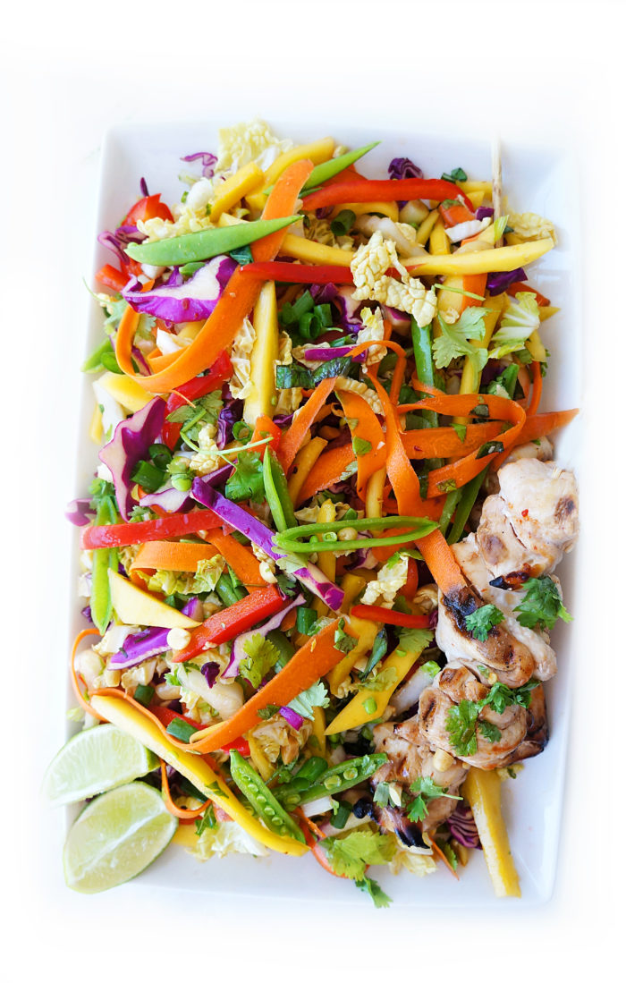 Rainbow Detox Salad with Asian Chicken Skewers