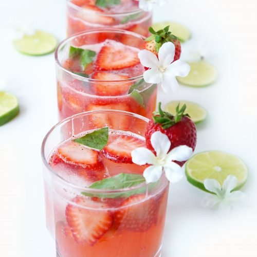 Strawberrry Basil Lime Spritzer