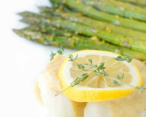 Fish with Easy Lemon Garlic Sauce & Lemon Roasted Asparagus