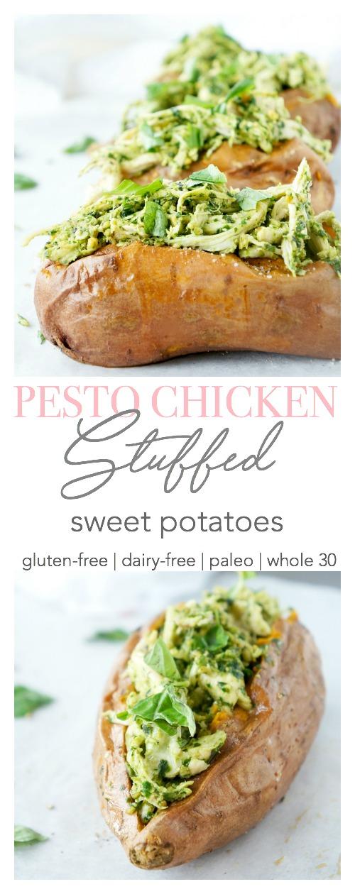 Pesto Chicken Stuffed Sweet Potatoes