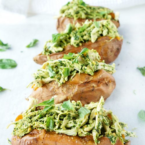 Pesto Chicken Stuffed Sweet Potatoes
