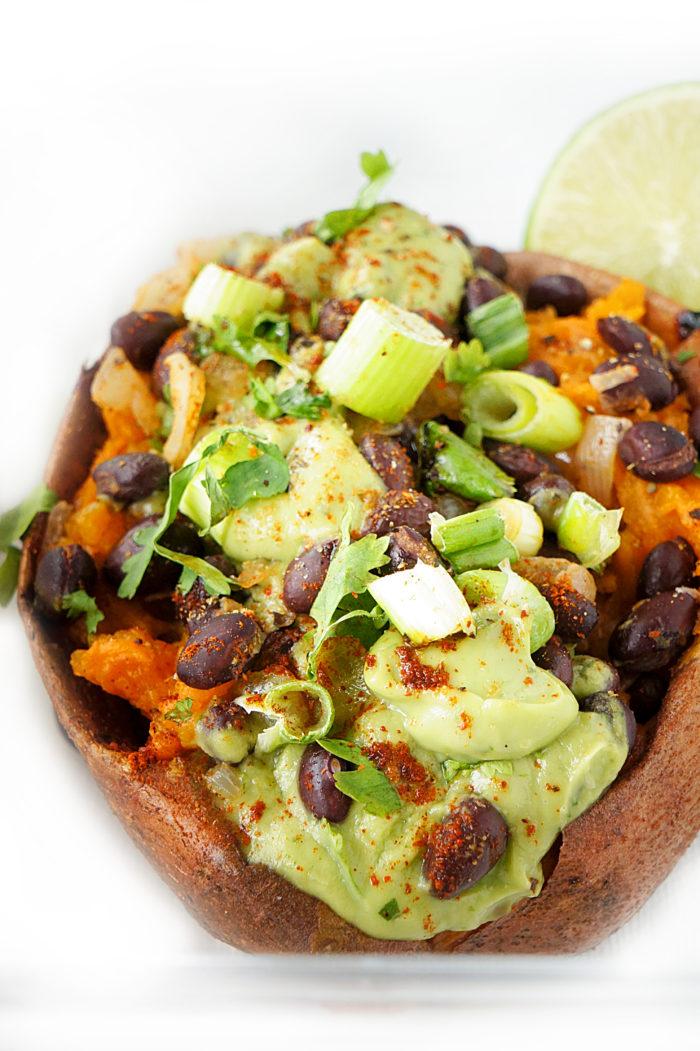 Black Bean Stuffed Sweet Potatoes with Avocado Creme