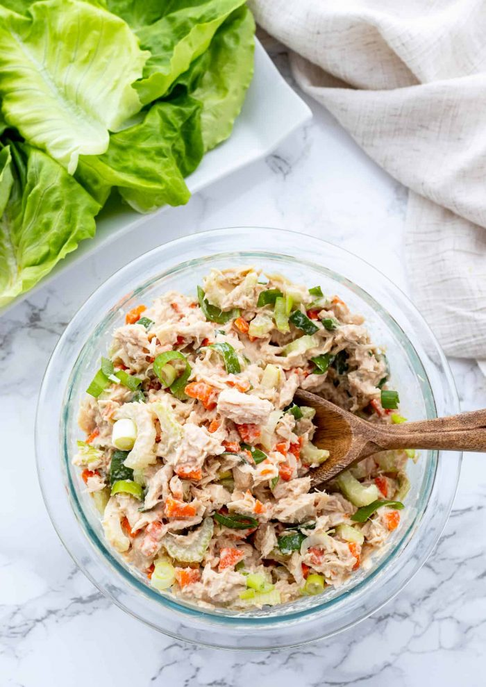 no-mayo tuna salad in bowl with lettuce wraps
